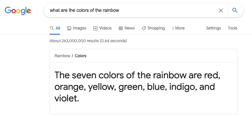 google feature snippet example of the answers to what the colors of the rainbow are