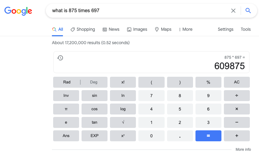 google feature snippet example of a math calculation